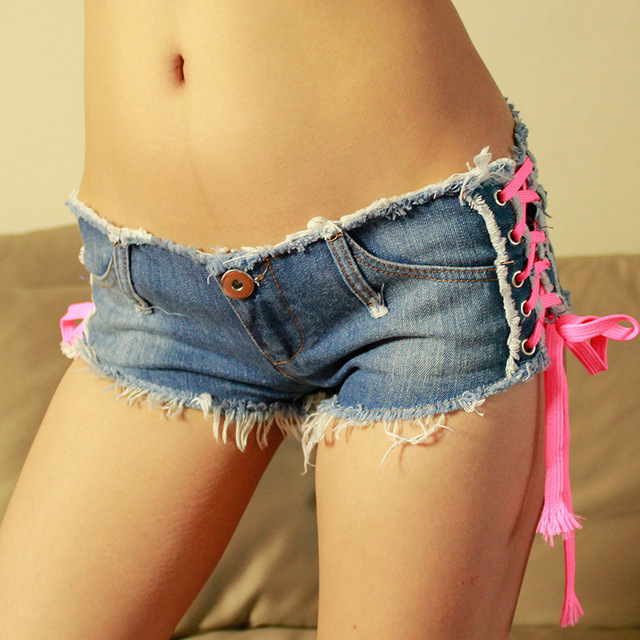 f6ee826657 Women Low Waist Jeans Sexy Lace Up Denim Shorts Summer Beach Casual Mini  Shorts Club Party