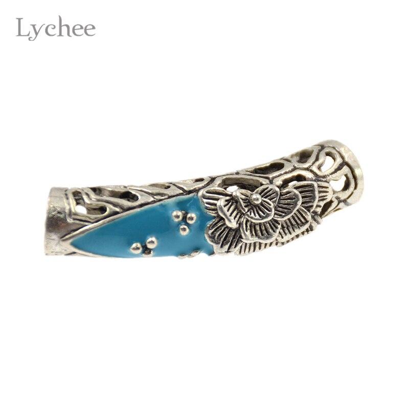 Lychee 3pcs Hiphop Multicolor Metal Flower Hollow Hair Braid Dread Dreadlock Beads Clips Cuff Headwear Jewelry for Men Women