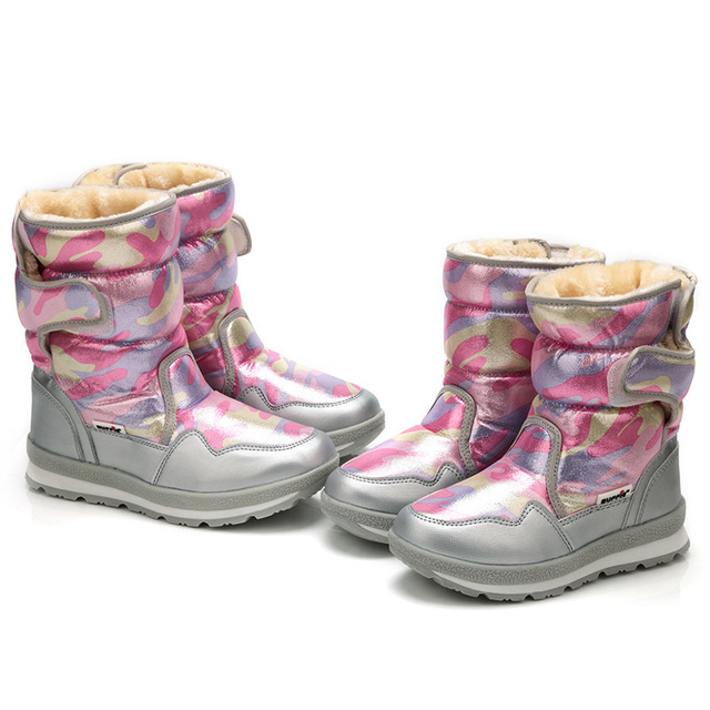 Winter -30 degree Children Snow Boots Warm 30% Wool Plush Girls Boots Army CAMO Boys Shoes Waterproof Boots Size 28-39