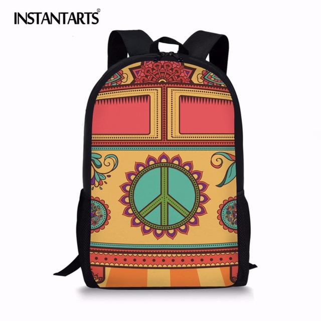eabd3bc76cbb INSTANTARTS Hippie Van Pattern Student Backpack for School Primary Simple  Design Boys Girls Casual Daypacks Mochila School Bag