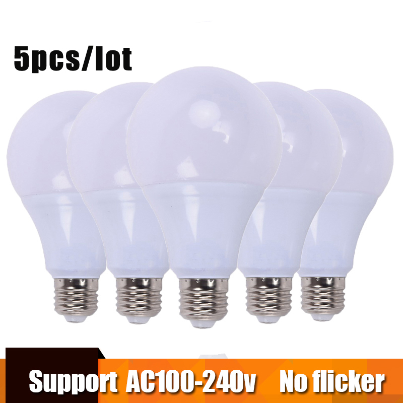 5pcs led lamp 3w 5w 7w 9w 12w 15w led bulb led e27 100-240v warm cold white led light Real power Lampada Ampoule Bombilla Lamp no flicker led bulb e27 9w led lamp 15w ac 220v 230v 240v cold white warm white lampada ampoule bombilla led