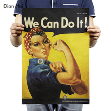 We Can Do It Kraft Paper Adornment Movie Posters Vintage Poster Adornment Home Decoration Wall Stickers