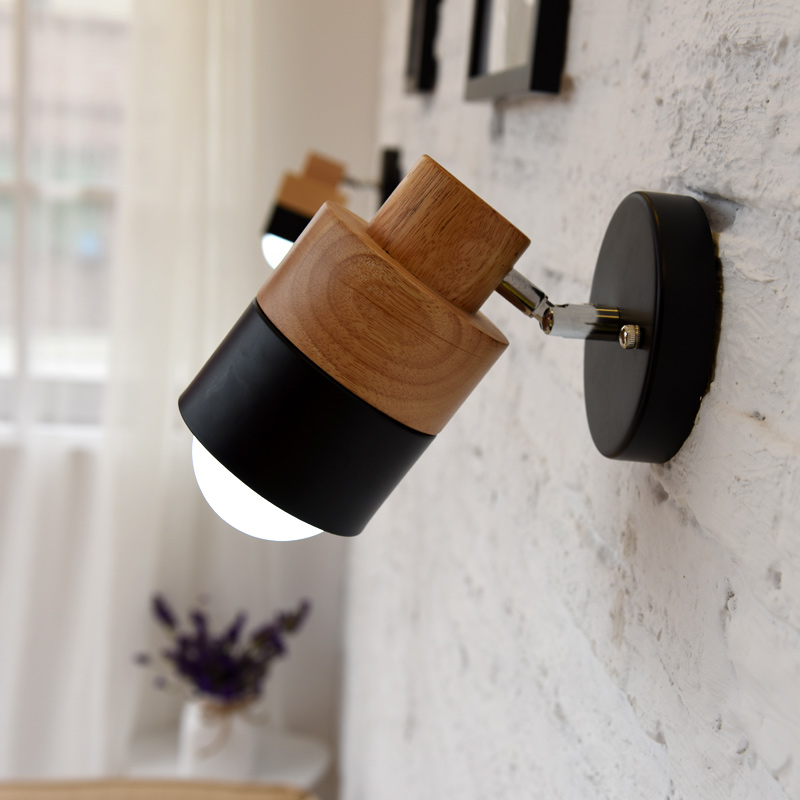 wall lamp Nordic living room bedside aisle hotel indoor wall lamp balcony aisle lamp solid wood led lamp lighting bedroom wall lamp stairs aisle balcony bedside wall light retractable corridor led indoor lighting study room lamp wall mounted
