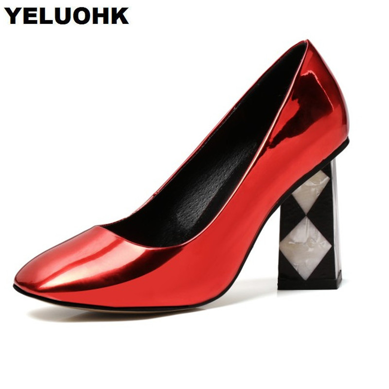 2018 Brand New Patent Leather Shoes Women Sexy High Heels Fashion Sqaure Toe Pumps Shoes Black Heels High Quality 2018 brand women pumps shoes patent