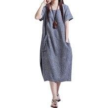 Summer Dresses Mid-Calf-Dress Linen Vestidos Loose Cotton Plus-Size Women Korean WSP9490