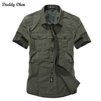Camisa de vestido dos homens slim fit casuais estilo Militar do exército verde do sexo masculino para meninos khaki dos homens designer de algodão de manga curta Respirável marca