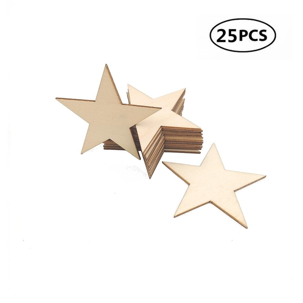 Enfeites de madeira para artesanato, 25 peças 60mm 2.36 polegadas, faça você mesmo, festival de casamento, estrela de madeira, recortes, enfeites de madeira para enfeites