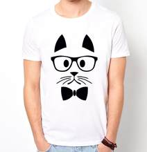 Hipster cat print mannen t-shirt fashion casual grappig shirt voor man wit top tee harajuku hipster straat zt203-50(China)