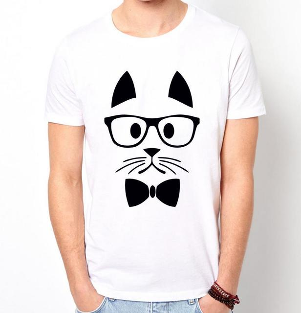 Hipster cat print mannen t-shirt fashion casual grappig shirt voor man wit top tee harajuku hipster straat zt203-50