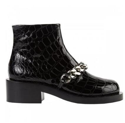 Botas Mujer haute qualité chaîne en métal doré bottine talon épais noir marron blanc cuir gladiateur sandales bottes livraison gratuite - 6