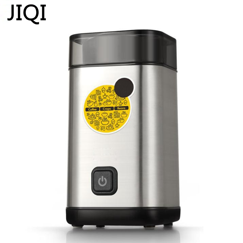 JIQI Electric Coffee Grinder 220V powder Maker with Stainless Steel Blades 300W Beans Mill Herbs/Nuts/seasonings For Home use dmwd household electric coffee grinder grains seasonings herbs cereal powder makers kitchen helper machine