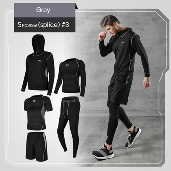 5 Pcs/Set Men's Tracksuit Gym Fitness Compression Sports Suit Clothes Running Jogging Sport Wear Exercise Workout Tights 11