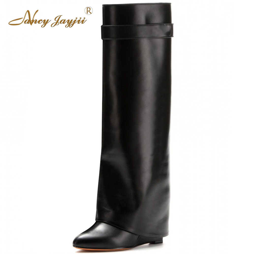 Nancyjayjii BC Women Brown&Black&Wine Pleather Point Toe High Heels Knee High Boots Fashion Shoes for Woman, zapatos botas mujer 2017 fashion winter platform boots knee high heels women shoes woman zapatillas botas zapatos mujer zip for ladies party shoes