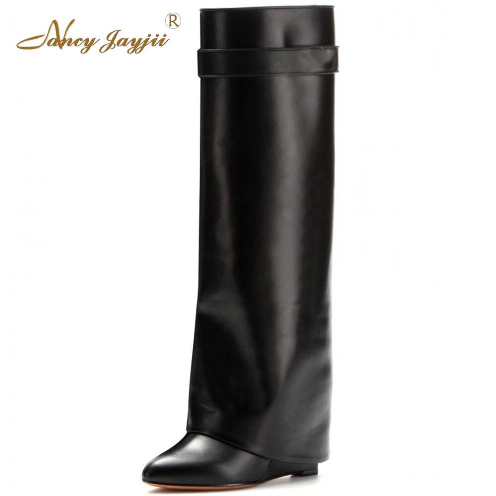 Nancyjayjii BC Women Brown&Black&Wine Pleather Point Toe High Heels Knee High Boots Fashion Shoes for Woman, zapatos botas mujer nancyjayjii 2017 fashion lady black suede peep toe high heels ankle boots shoes for woman zapatos botas mujer plus size 5 14