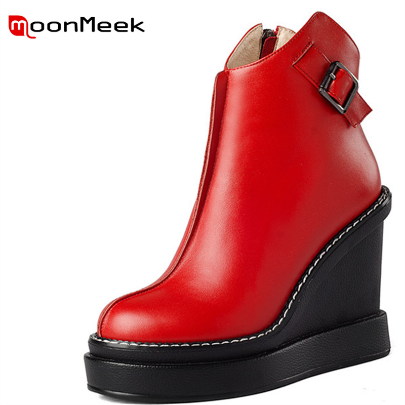MoonMeek fashion platform ladies boots sexy super high heels shoes autumn winter woman ankle boots classic genuine leather boots цена 2017