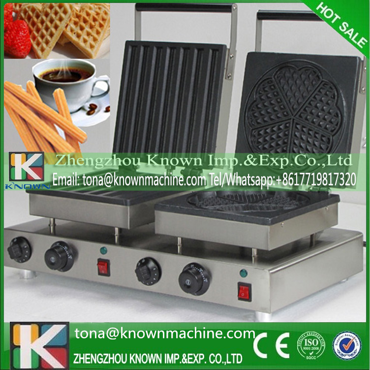 Export EU double heads churro and heart waffle machine commercial with quality heating panel churro maker stainless steel 3l churro making machine with three moulds and nozzles