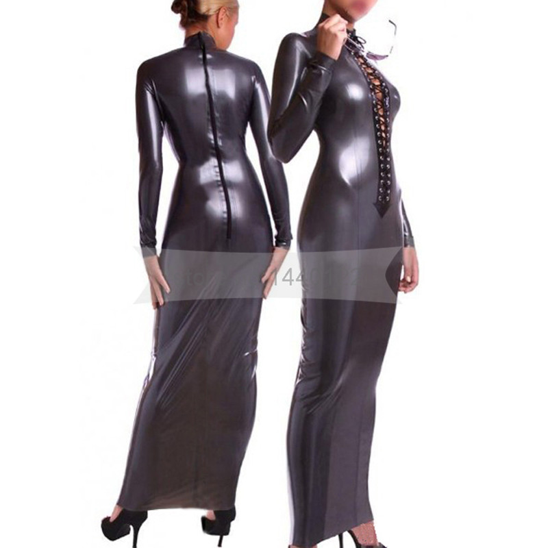 Sexy Latex Women Dress Long Sleeves Female Binding Dresses Rubber Latex Fetish Clothing with Front Lacing BNLD082