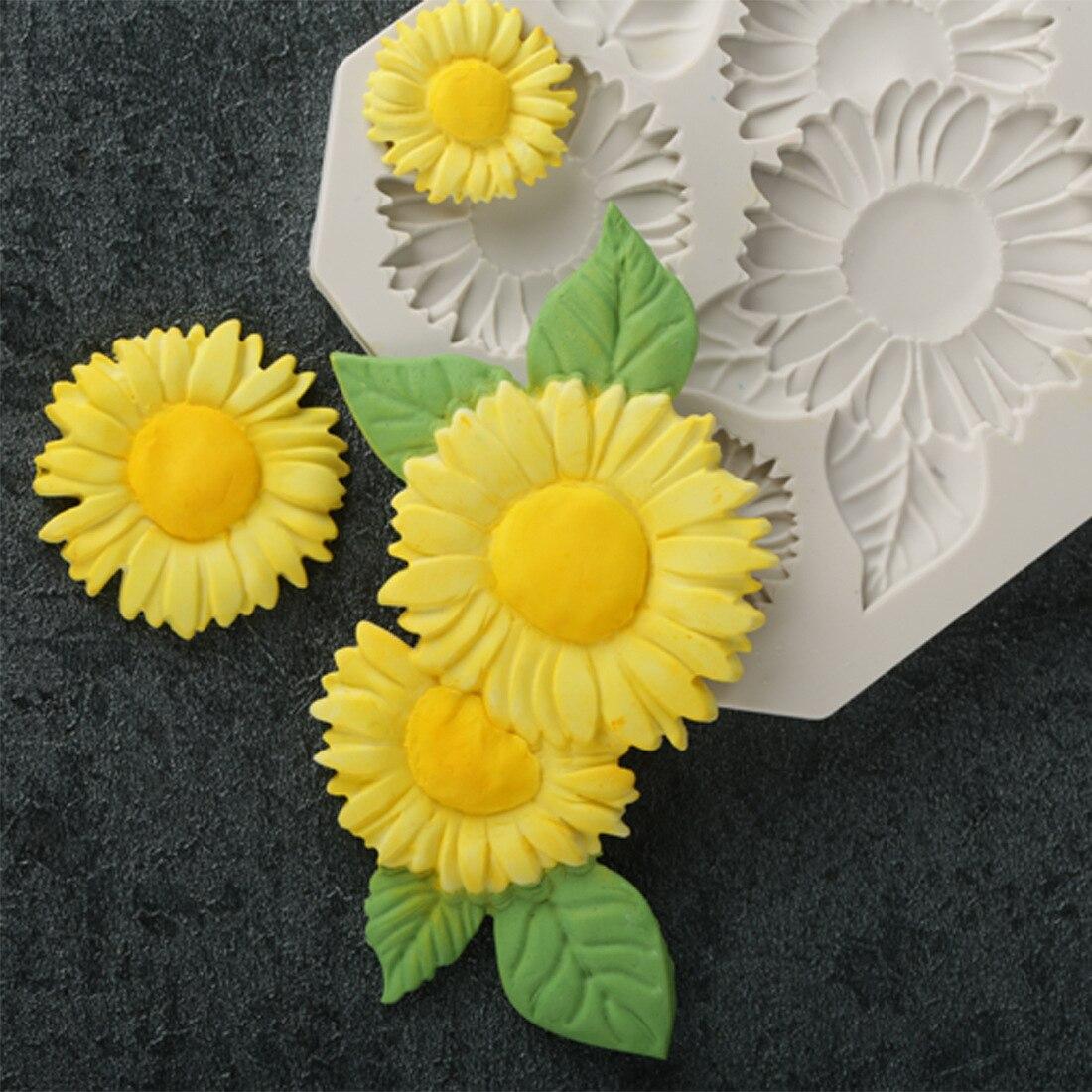 Sunflower Flower Silicone Mold Fondant Mat Cake Decorating Cupcake Candy Baking