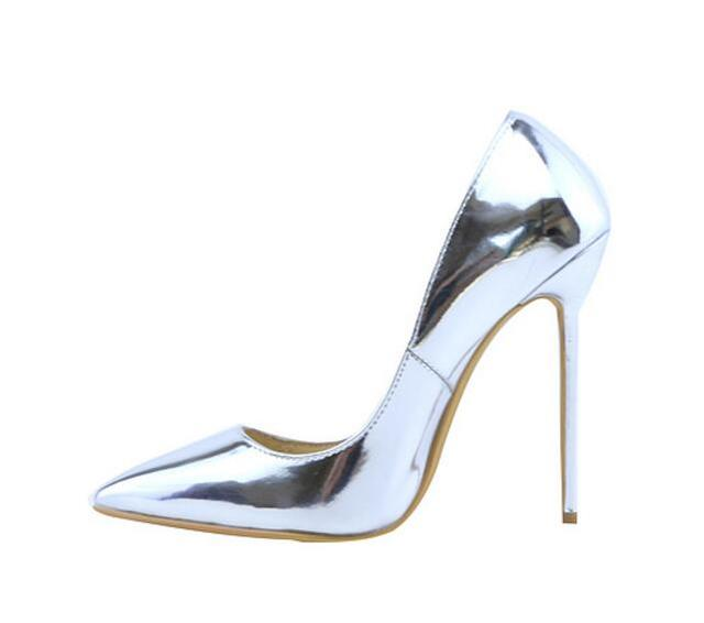 Akamatsu Gold Silver Metallic Color Design High Heels Women Shoes Shallow  Patent Leather Office Lady Pumps Party Stilettos