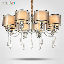 hot deal buy solfart lamp chandelier lighting for bedroom as pendant with smoky crystal fabric shade chrome led chandeliers light