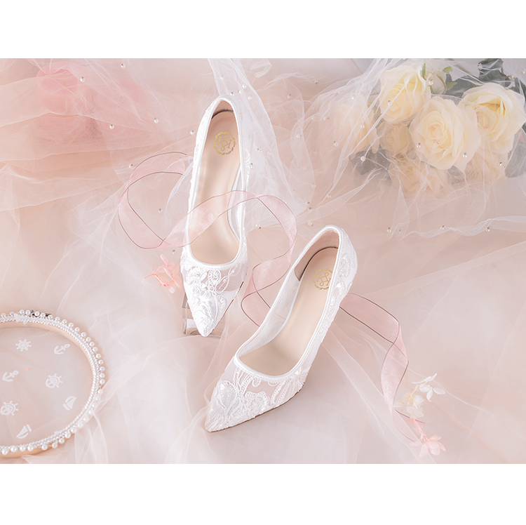 vestido de casamento bombas sapatos femininos malha ar