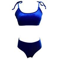 2018 Bikinis Set Double Ruffle Swimwear Women Sexy Swimsuit Off Shoulder Pleuche Five Colors Swim Wear