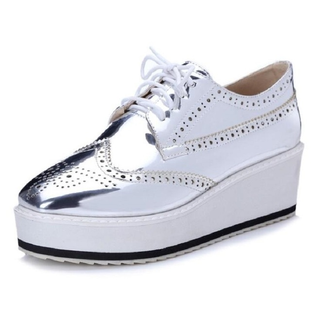 New Womens Sexy Patent Leather Lace Up Flat High Platform Shoes Round Toe  Creeper Fashion Sliver