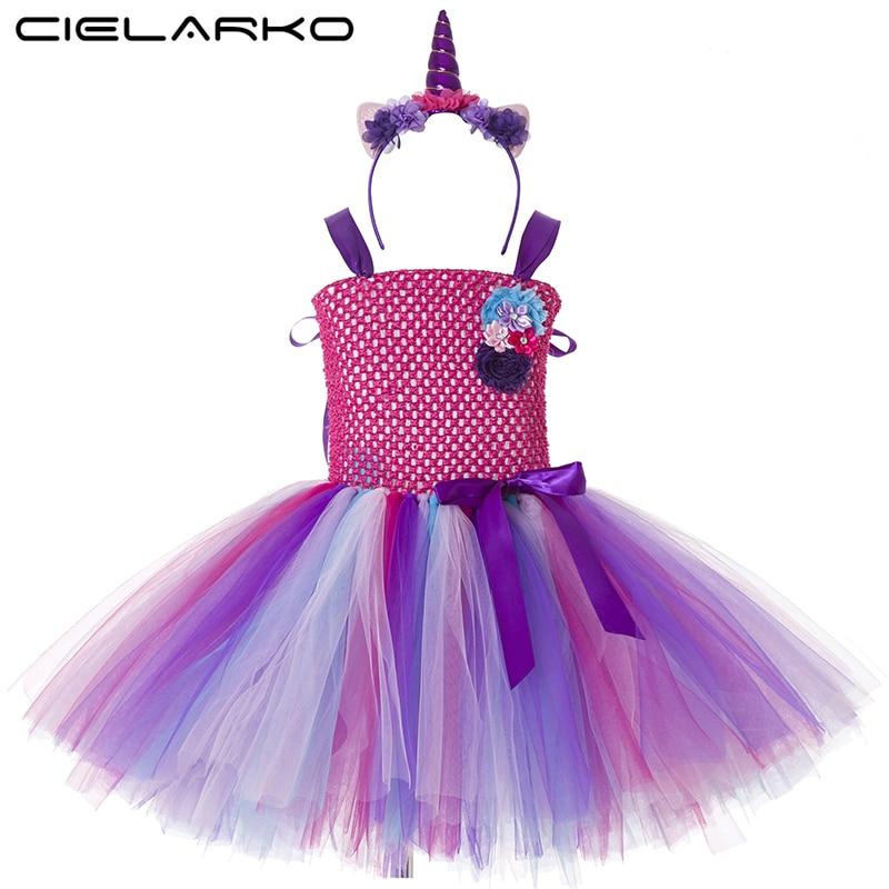 Niñas tutú Arco Iris princesa pony unicornio vestido + diadema ...
