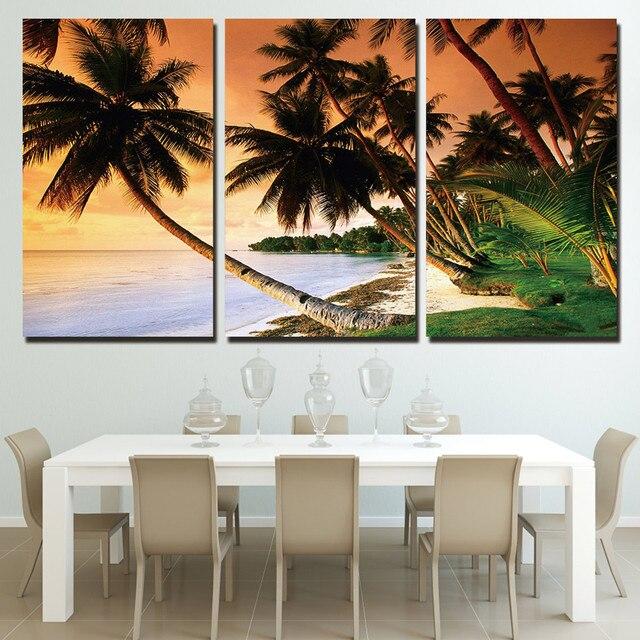 Modern Frames Printed 3 Piece Coast Palm Trees Landscape Canvas
