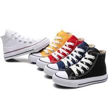 Детская обувь для девочек; Детские кроссовки; Новинка года; сезон весна; модная парусиновая обувь с высоким берцем для маленьких мальчиков; классическая парусиновая обувь для детей;#65