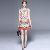 Nowy Projektant Mody Runway Sukienka Kobiety Bez Rękawów Przycisk Dorywczo Kwiatowy Print Sexy Leopard Proste Mini Sukienka vestidos