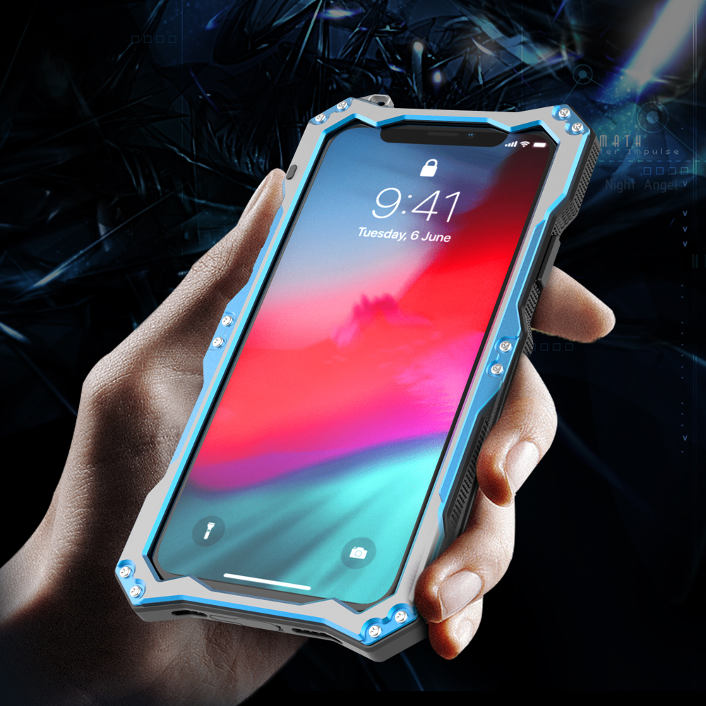 For iPhone XS iPhone XS Max Case R JUST Gundam Armor Life Waterproof shockproof Aluminum Metal Cover Case for iPhone XS XR