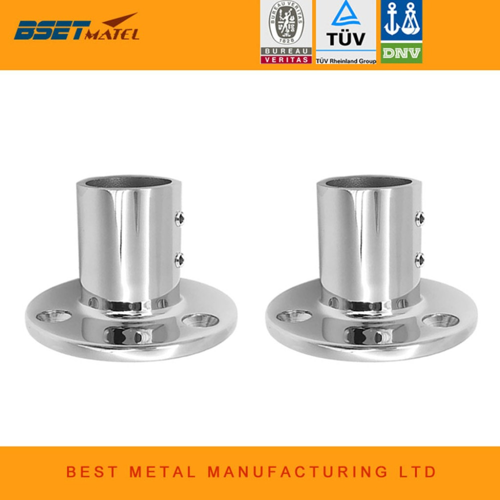 2X BSET MATEL 316 Stainless Steel 90 Degree Marine Boat Hand Rail Fitting Round Stanchion Base For Pipe 1-1/4