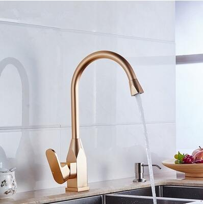 Gold Satin Kitchen Faucet Space Aluminum Gold Single Handle Hot Cold Water Vessel Sink Basin Tap Mixer Torneira Cozinha high quality single handle brass hot and cold basin sink kitchen faucet mixer tap with two hose kitchen taps torneira cozinha
