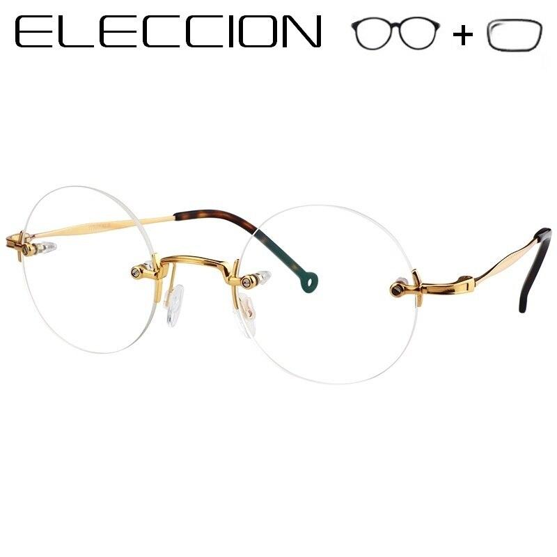 4d185e75bb64 Pure Titanium Round Prescription Glasses Men Women 2019 New Rimless Eyewear  Optical Frames Glasses for Sight