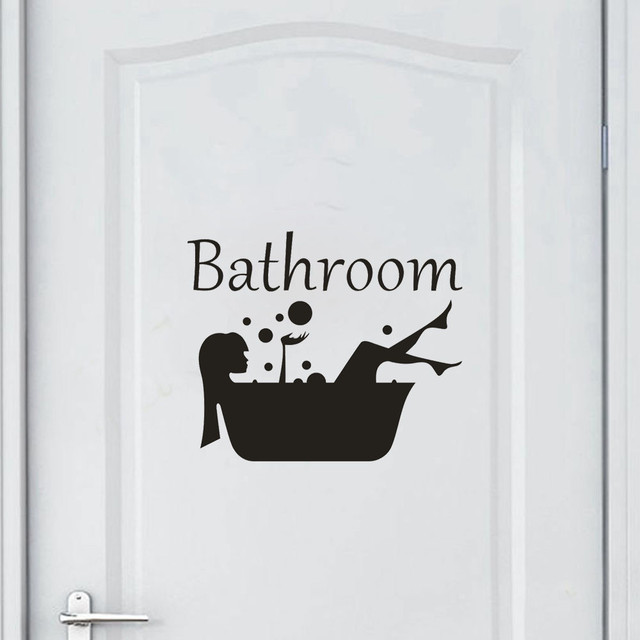 Cute Cartoon Letters Bathroom Door Wall Stickers DIY Funny Decorative Decal Home Decor Poster Removable Vinyl Mural Art
