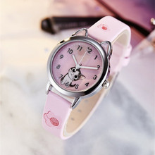 цена на 2019 Hello Kitty Cartoon Watches Kid Girls Leather Straps Wristwatch Children Hellokitty Quartz Watch Cute Clock Montre Enfant