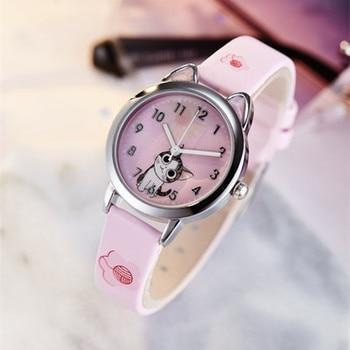 2019 Hello Kitty Cartoon Watches Kid Girls Leather Straps Wristwatch Children Hellokitty Quartz Watch Cute Clock Montre Enfant hello kitty watch