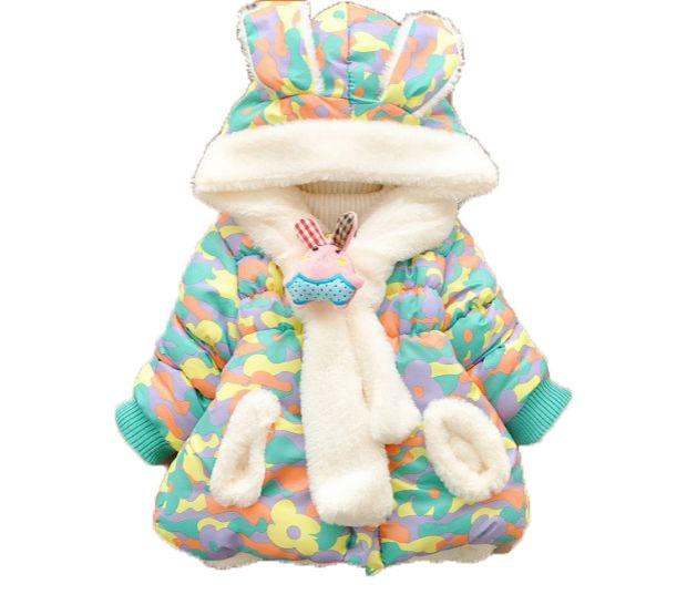 Venda quente da criança do bebê da menina do inverno 2016 pele quente lolita bonito do bebê moletom com capuz