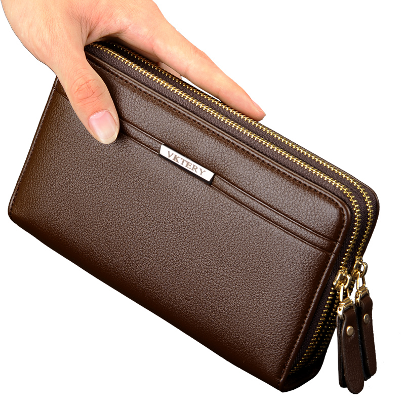 2017 Luxury Male Leather Purse Men's Clutch Wallets Handy Bags Business Carteras Men Wallets Men Black Brown Dollar Price 2016 famous brand new men business brown black clutch wallets bags male real leather high capacity long wallet purses handy bags