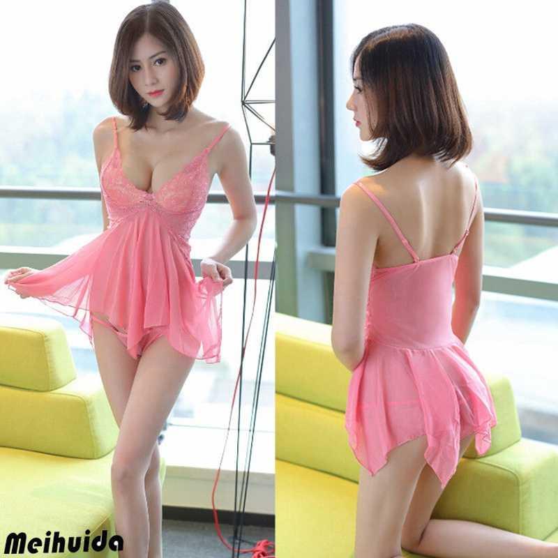Sexy-Lingerie-Women-Lace-Robe-Dress-Babydoll-Nightdress-Nightgown-Sleepwear-2pcs
