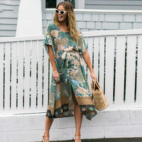 Boho Chic Summer Vintage Crane Floral Print Sashes Midi Dress 2018 New Fashion Kimono Sleeves Beach Dresses Casual Vestido Mujer