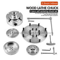 5.5inch/140mm Wood lathe chuck High Quality 4 Jaws Self center Chuck Set in Aluminum Case For mini woodworking lathe