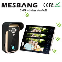 new black color 2.4G wireless door video intercom doorbell phone one camera three 7 inch monitor free shipping