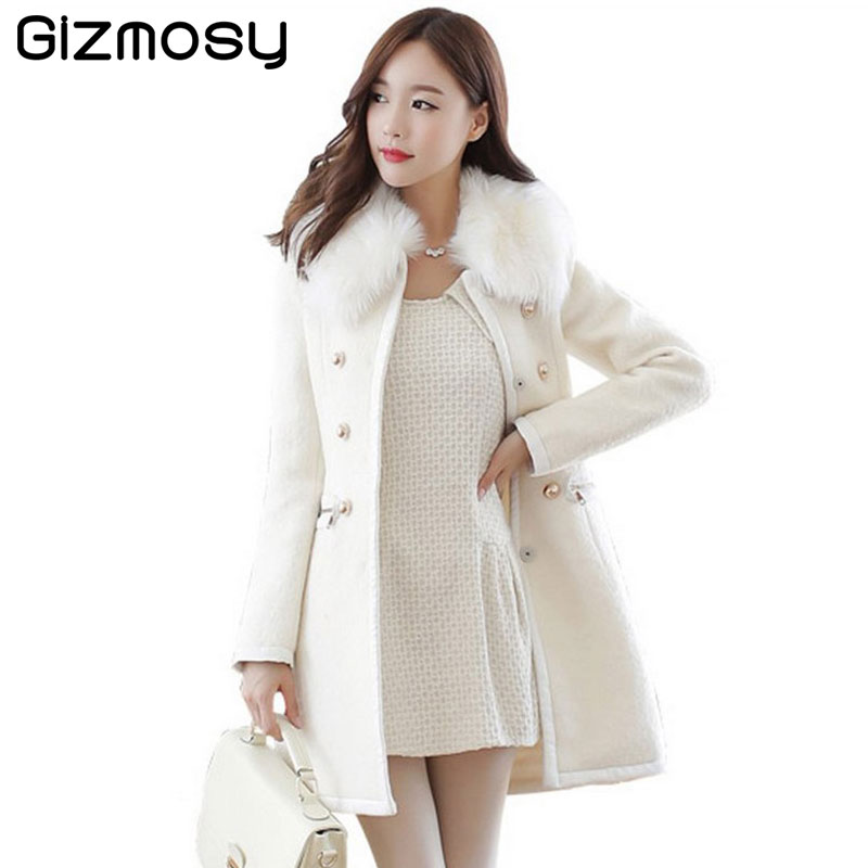 Double Femmes 2017 Manteau black Col D'hiver Feminino Outwear Fourrure Base Breasted Jacket Vestes light White Mujer Casaco Tan Bn1232 Wool Vintage Abrigos De A ligne Coat trXOwdqWr