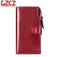 GZCZ 2018 Cow Leather Long Women Wallet Fashion Luxury Purse Women's Handbag Genuine Leather Best Phone Wallet Case Phone Pocket