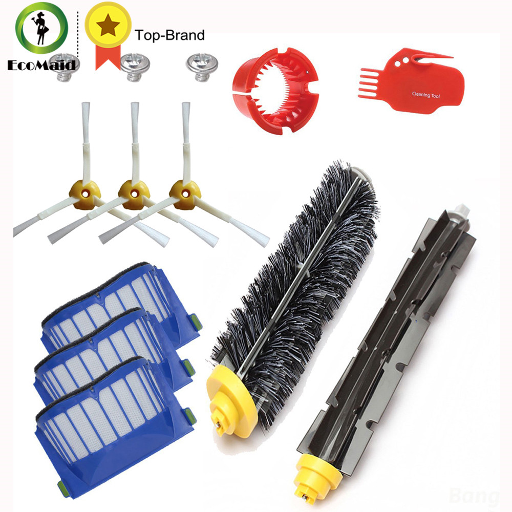 Accessory for Irobot Roomba 600 Series Vacuum Cleaner Part Kit Filter Side Brush Bristle Brush and Flexible Brush Cleaning Tool 3 armed side brush flexible beater brush bristle brush filter for irobot roomba 500 series vacuum cleaner accessory kit