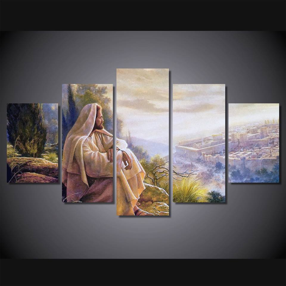 Aliexpress Com Buy Hdartisan Wall Canvas Art Pictures: Print 5 Pcs Canvas Wall Art Print Jesus Default Painting