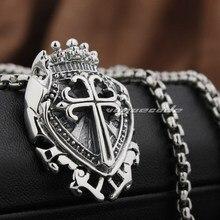 925 Sterling Silver Shield Cross Mens Biker Pendant 8N028(Necklace 24inch)
