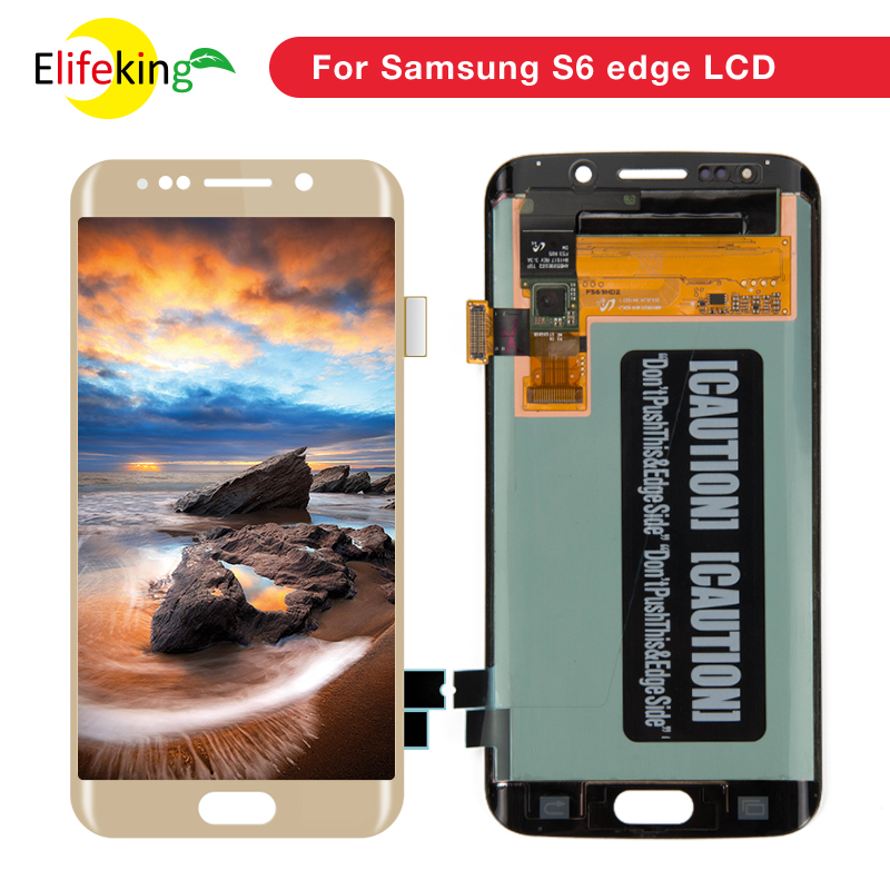 5PCS/Lot Super Amoled Screen for Samsung Galaxy S6 Edge G925 G925F G925A LCD Display With Frame Touch Screen Digitizer Assembly